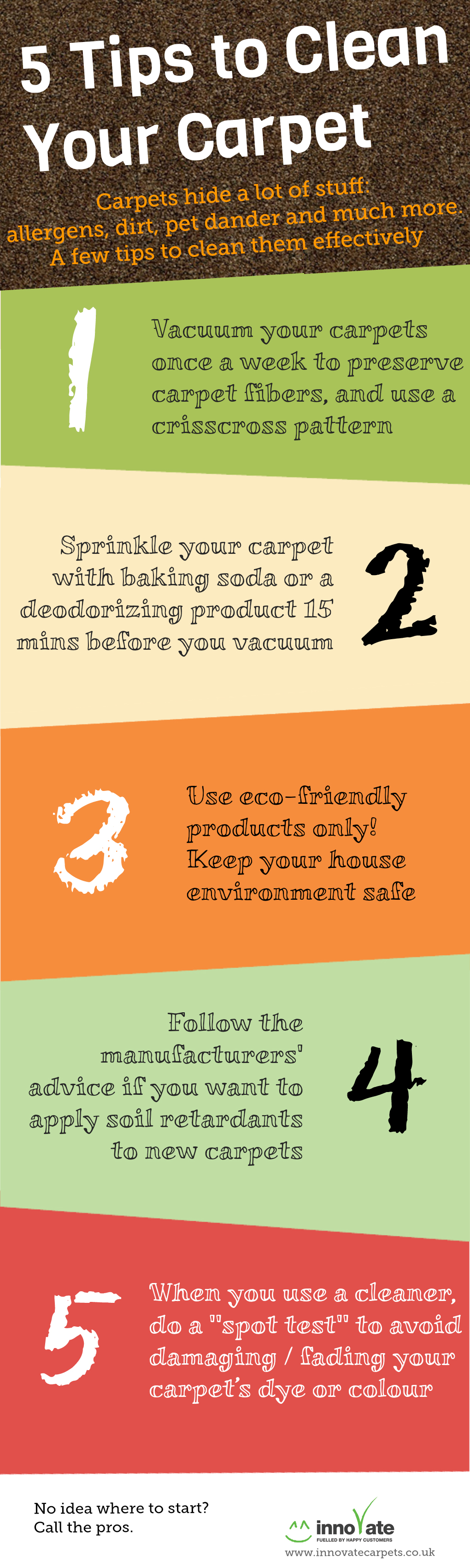 5 tips to clean your carpet infographic innovate carpet cleaning - Five tips for quick cleaning ...